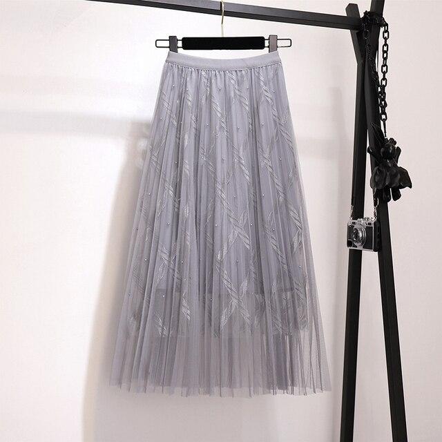 Zoki Fashion Mesh Women Long Skirt Elegant Spring Summer A Line Pearl High Waist Korean Female Party Tulle Midi Pleated Skirt 6