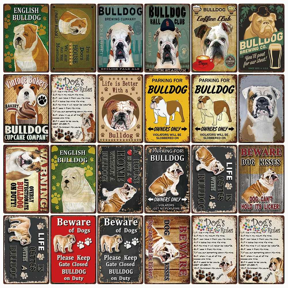 [[Kelly66] Chó Quy Định Cảnh Báo Quá Tình Cảm Bulldog Làm Nhiệm Vụ Kim Loại Ký Trang Trí Nhà Thanh Tường Tranh Nghệ Thuật 20*30 Cm Kích Thước DG-5