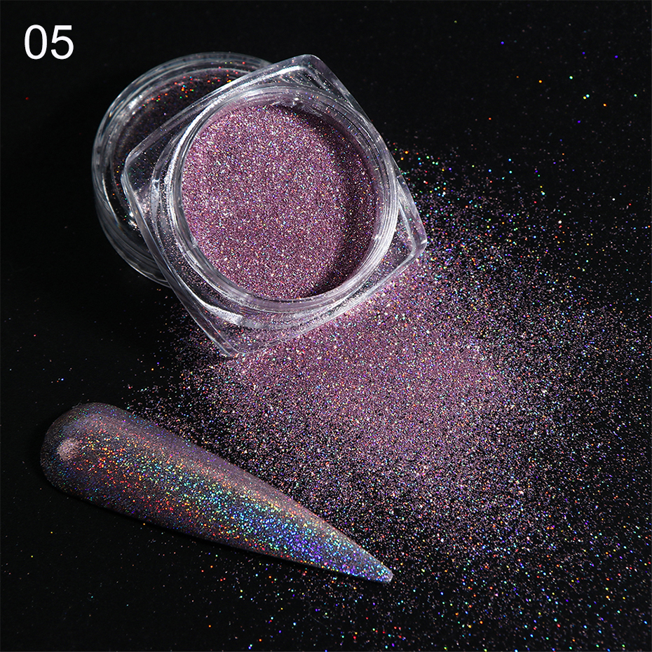 Holographic Nail Glitter Powder Laser Dipping Sequins Pigment Nail Art Gradient Mirror Chrome Dust Shining Polish Flakes BE1028-2 (9)