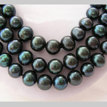 Unique Pearls jewellery Store 3row 8-9mm Black Round Genuine