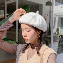 Cotton Wool Beret Hats For Women Winter pumpkin Sharp Girls Soft Female Flat Cap Vintage Octagonal cap Painter