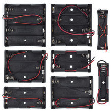 Plastic Standard Size AA/18650 Battery Holder Box Case Black With Wire Lead 3.7V/1.5V Clip