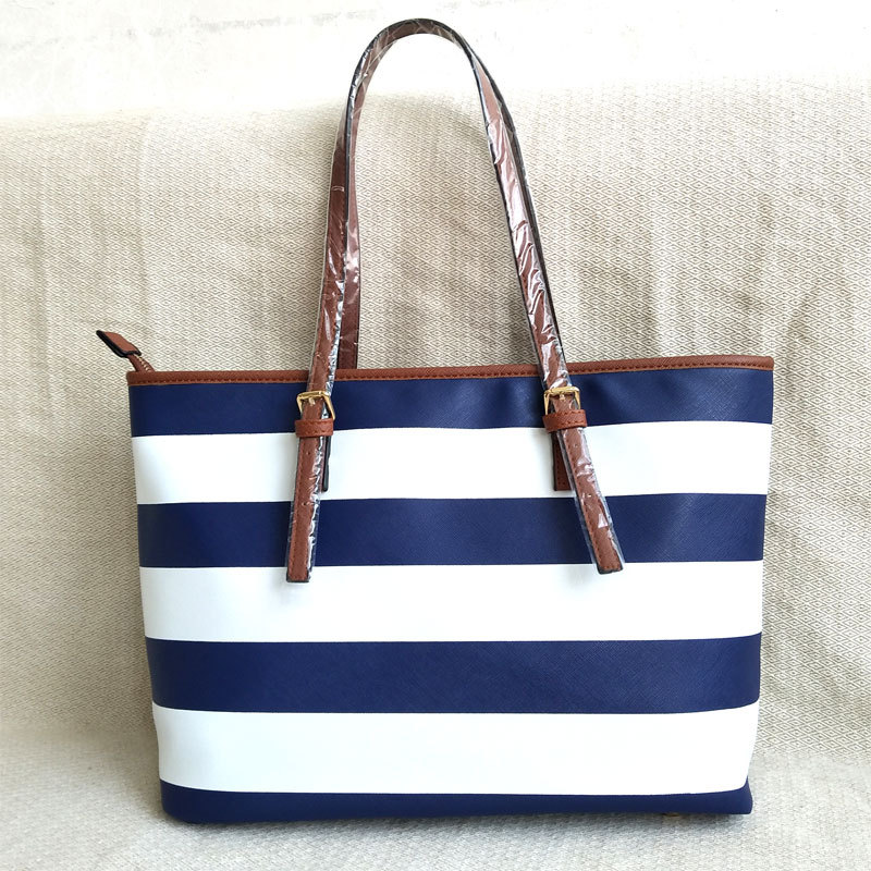 2019 autumn new women's bag striped bag PU leather shoulder bag large bag