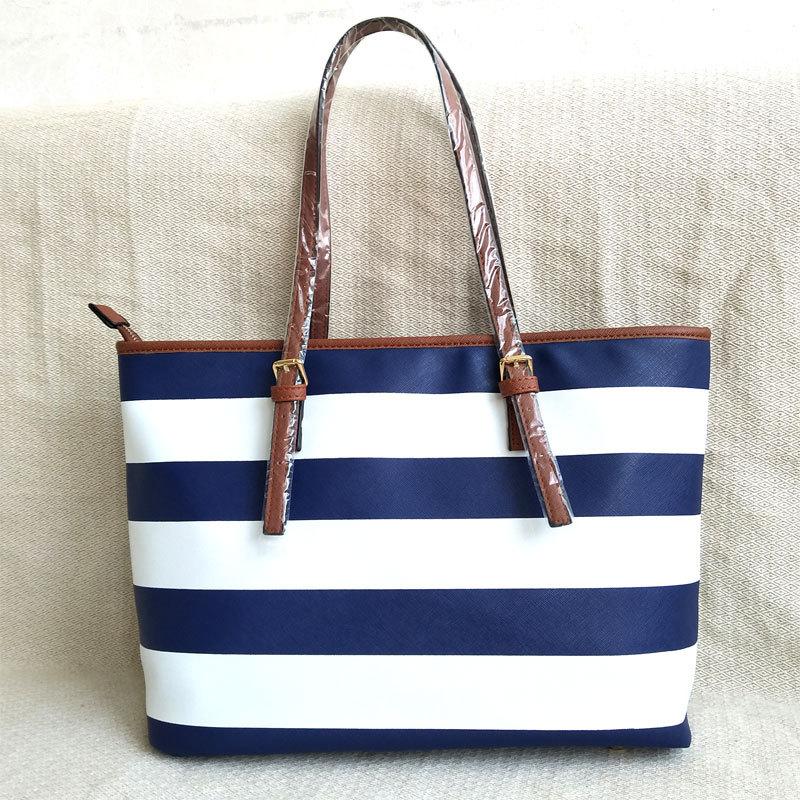 2019 Autumn New Women's Bag Striped Bag PU Leather Shoulder Bag Large Bag