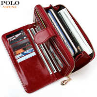 VICUNA POLO Fashion Waxy Leather Ladies Wallet Durable Big Capacity Women Card Holder Clutch Wallet portomonee Dropshipping