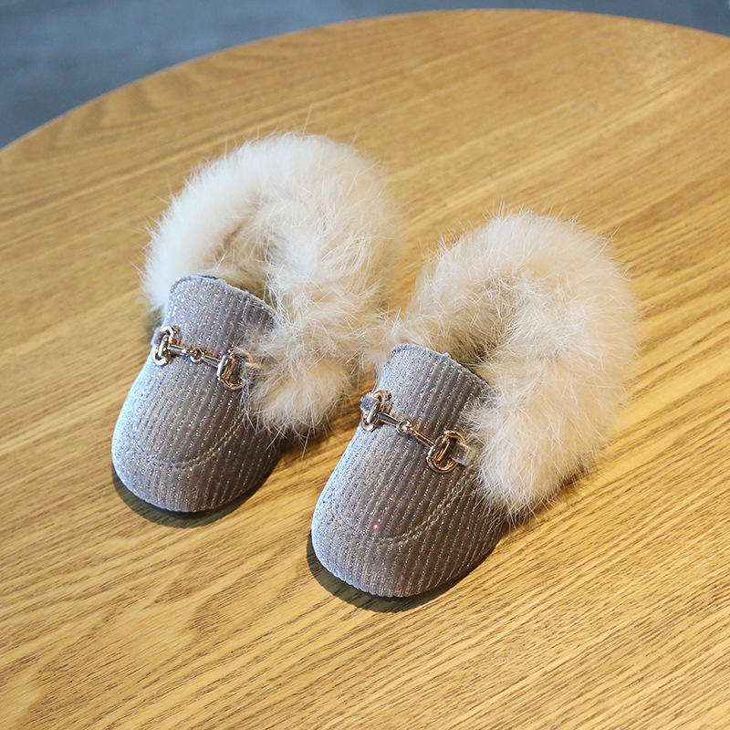 New Winter Newborn Infant Baby Girl Boots 0-1-3 Princess Baby Toddler Shoes Small Girls Soft Bottom Furry Cotton Shoes