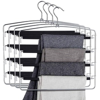 Multi Pant Hanger Slacks Hangers Space Saving Non Slip Multi Layers Swing Arm Space Saver Storage Pant Slack Hangers for Pants J