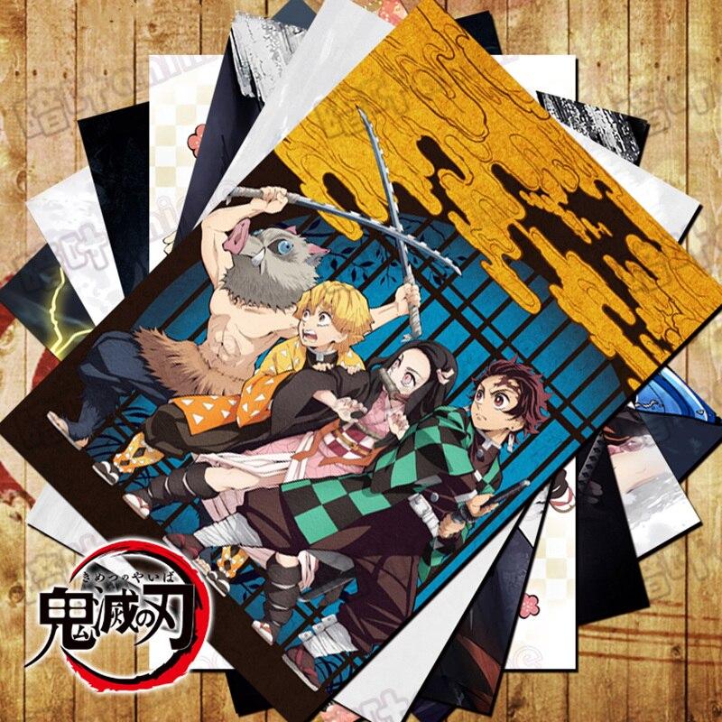 10 Pcs/Lot Anime Demon Slayer : Kimetsu No Yaiba Poster Sticker Tanjirou Nezuko Zenitsu Inosuke Toys 10 Pictures Sizes 42x29 CM