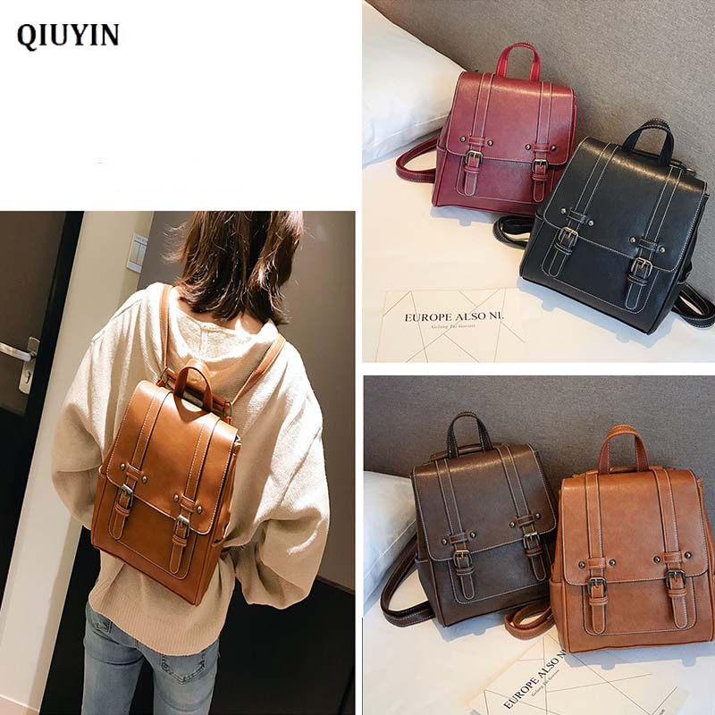 QIUYIN Backpack Women Casual PU Leather Shoulder Bag For Ladies Available With One Shoulder Slung Backpack Fashion Retro Style