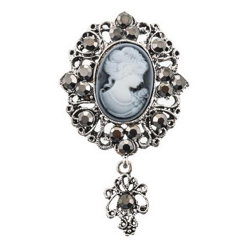 2019 Vintage Crystal Flower Pendant Cameo Brooch Pins In Antique Gold Or Antique Silver Color For Women
