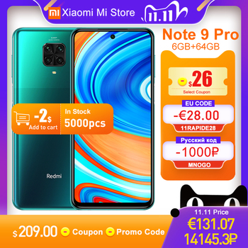 "Global Version Xiaomi Redmi Note 9 Pro Smartphone 6GB RAM 64GB ROM Snapdragon 720G 64MP Rear Quad Camera 6.67"" NFC Cellphone"