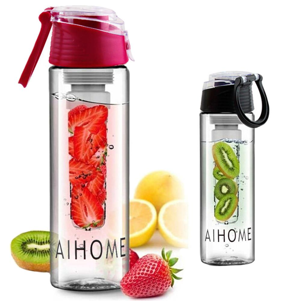 Fruit Water Filter Bottle 800ML Sports Water Bottle With Removable Fruit Strainer Flip-top Lid For Fitness Outdoor Camp Cycling