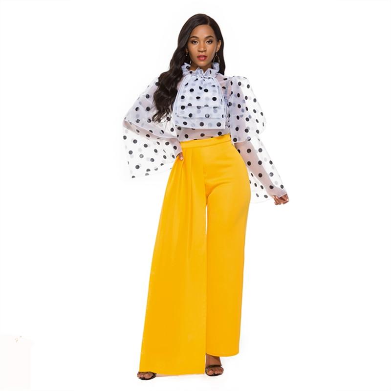 2 Pieces Sets Women Polka Dot Blouse Transparent Ruffles Wide Leg High Waist Pants Female Suits Elegant Slim Lady Work Fashion
