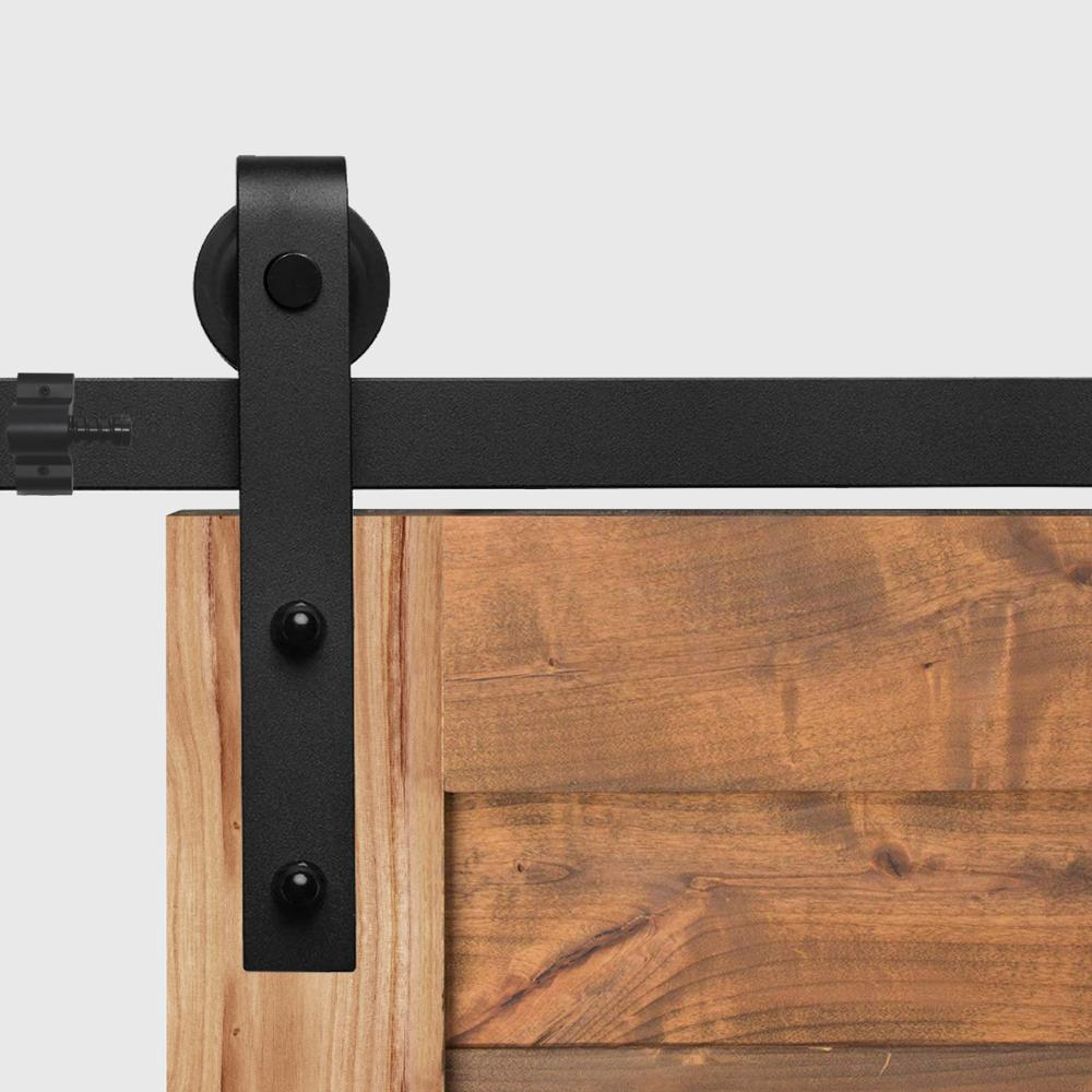 Купить с кэшбэком Barn Door Hanging Rail For Europe Rustic Black Sliding Hardware Cabinet Wood Door 183CM/200CM Ship To Europe