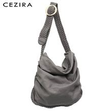 Большая мягкая повседневная женская сумка CEZIRA, школьная сумка из искусственной кожи для девушек, сумка мессенджер с регулируемой плетеной пряжкой и плечевым ремнем