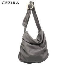 Ceziraビッグソフトカジュアルな女性のバッグ女の子洗浄puレザー学校ハンドバッグ女性調整可能な織バックルベルトメッセンジャー & ショルダーバッグバッグ