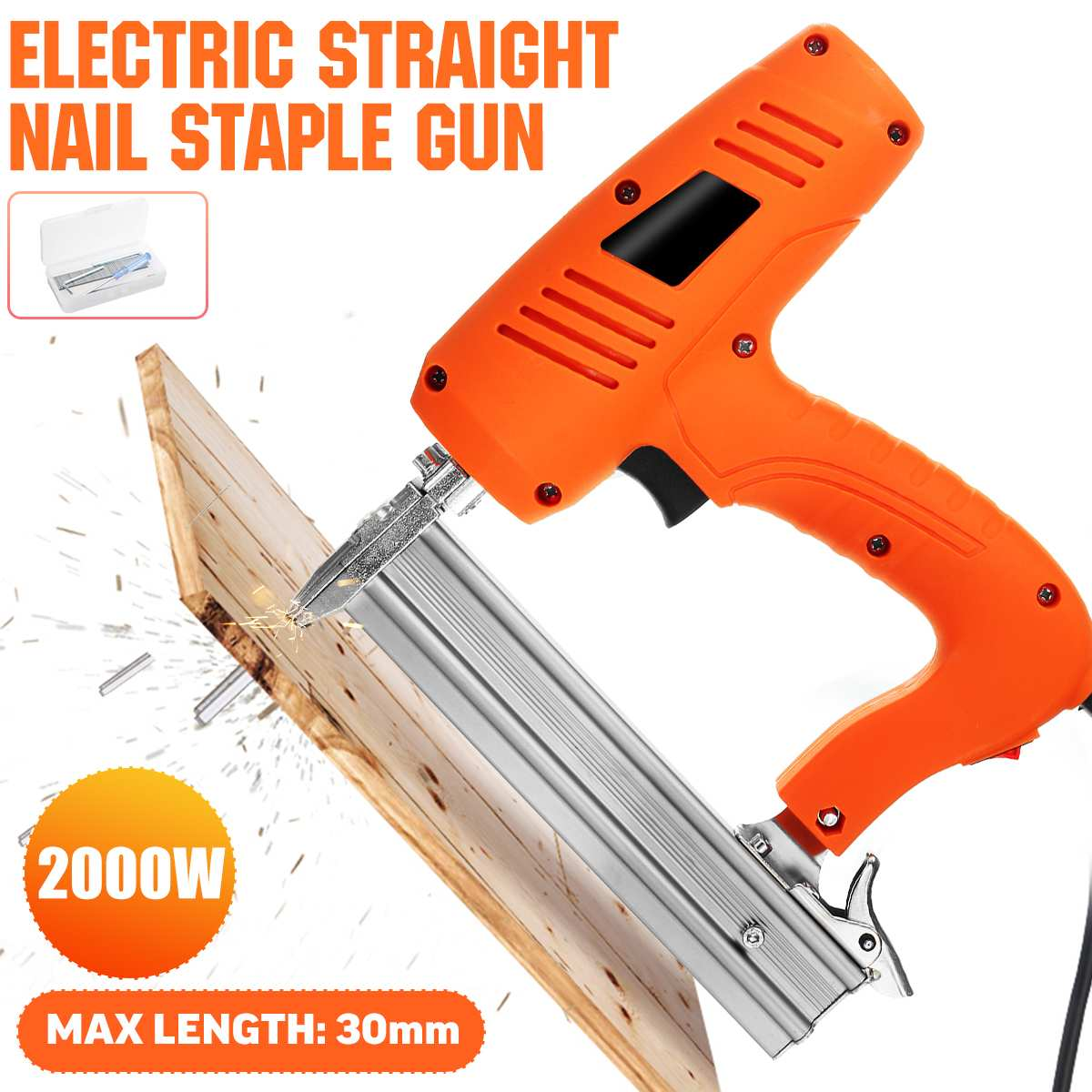 220V 2000W Electric Straight Nail-Gu 10-30mm Heavy-Duty Woodworking Tool Electrical Staple Nail Portable Electric Tacker Gu