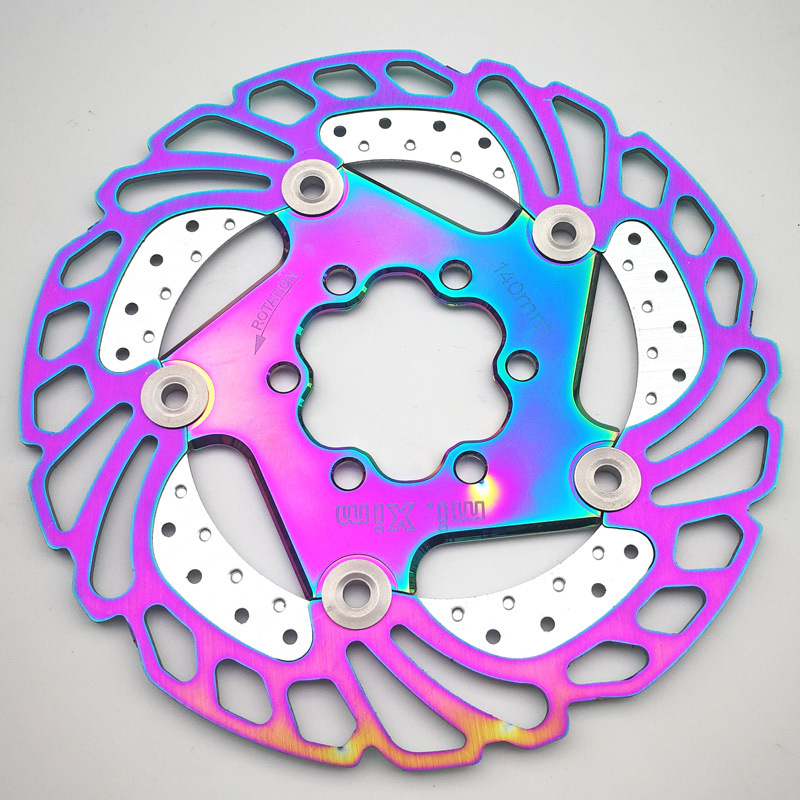 Colorful MTB DH Disc Brake 140/160/180/203mm Bicycle Cooling Floating Rotor Mountain Road Bike Cool Down Rainbow Ice Rotors image