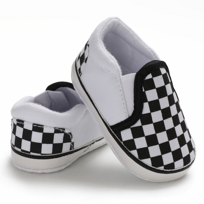 Spring Autumn Baby Boy Plaid Pattern Anti-Slip Shoes Toddler Casual Canvas Sneakers Walking Shoe Soft Soled First Walkers