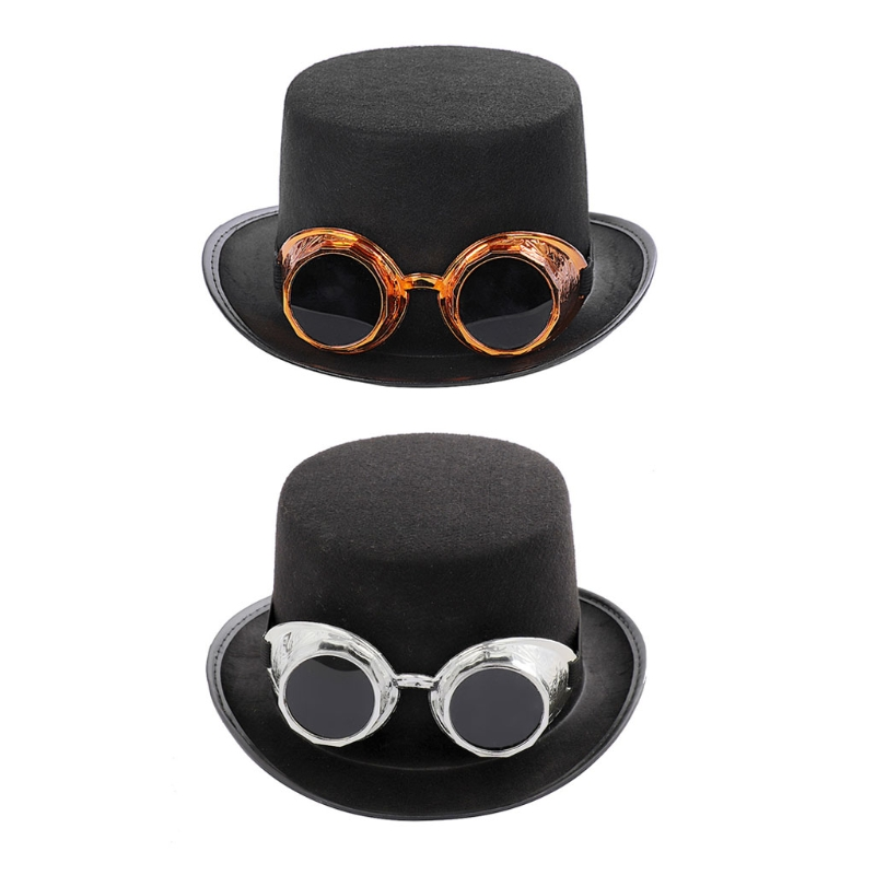 Steampunk Gothic Top Hat with Detachable Goggles Carnival Halloween Jazz Cap