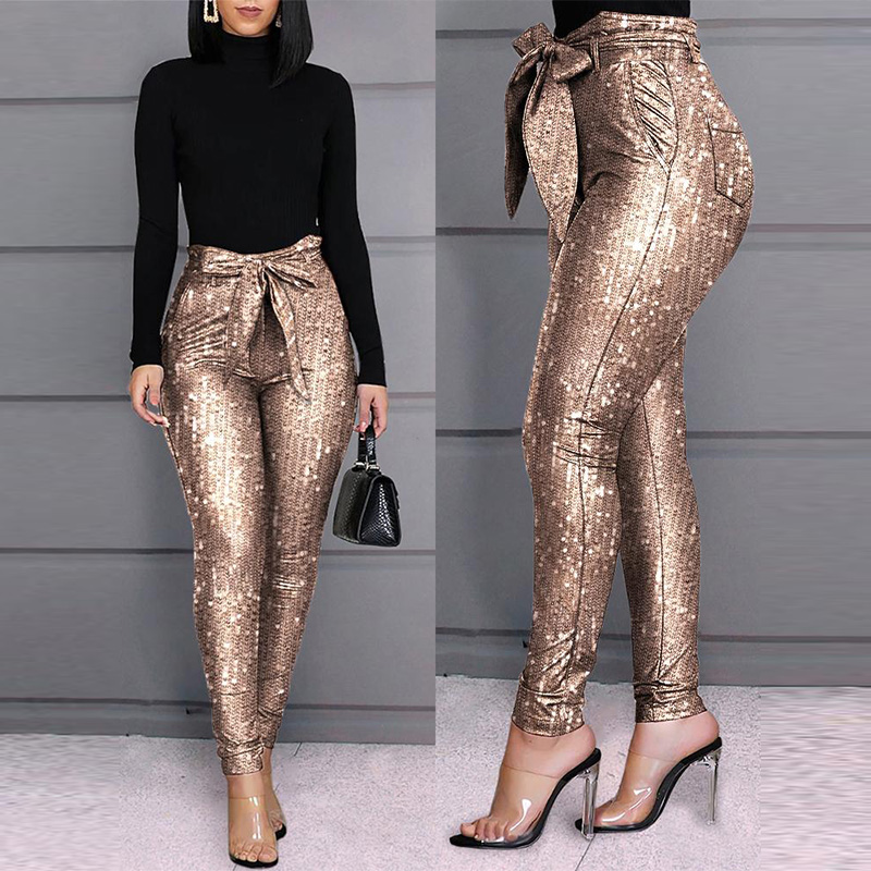 Glitter Sequins Belted Skinny Pants Women Bow Tied High Waist Pockets Office Lady Pencil Streewear Trousers Pants Party Clubwear