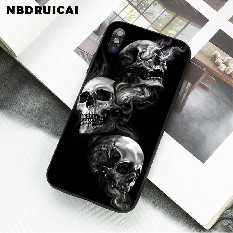NBDRUICAI רטרו סגנון פרח גולגולת TPU רך סיליקון טלפון Case כיסוי עבור iPhone 11 פרו XS מקסימום 8 7 6 6S בתוספת X 5 5S SE XR מקרה