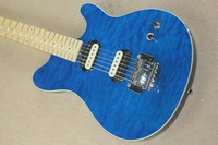Factory Wholesale Blue Electric Guitar with 2 Pickups,Cloud Maple Veneer,Chrome Hardwares,Offer Customized