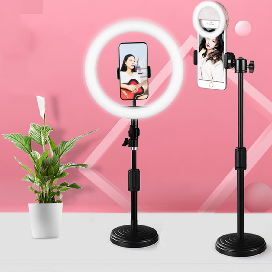 cheapest LED Selfie Ring Light Video Light Dimmable USB Ring Lamp Photography Light with Phone Holder Tripod Stand for Makeup Youtube