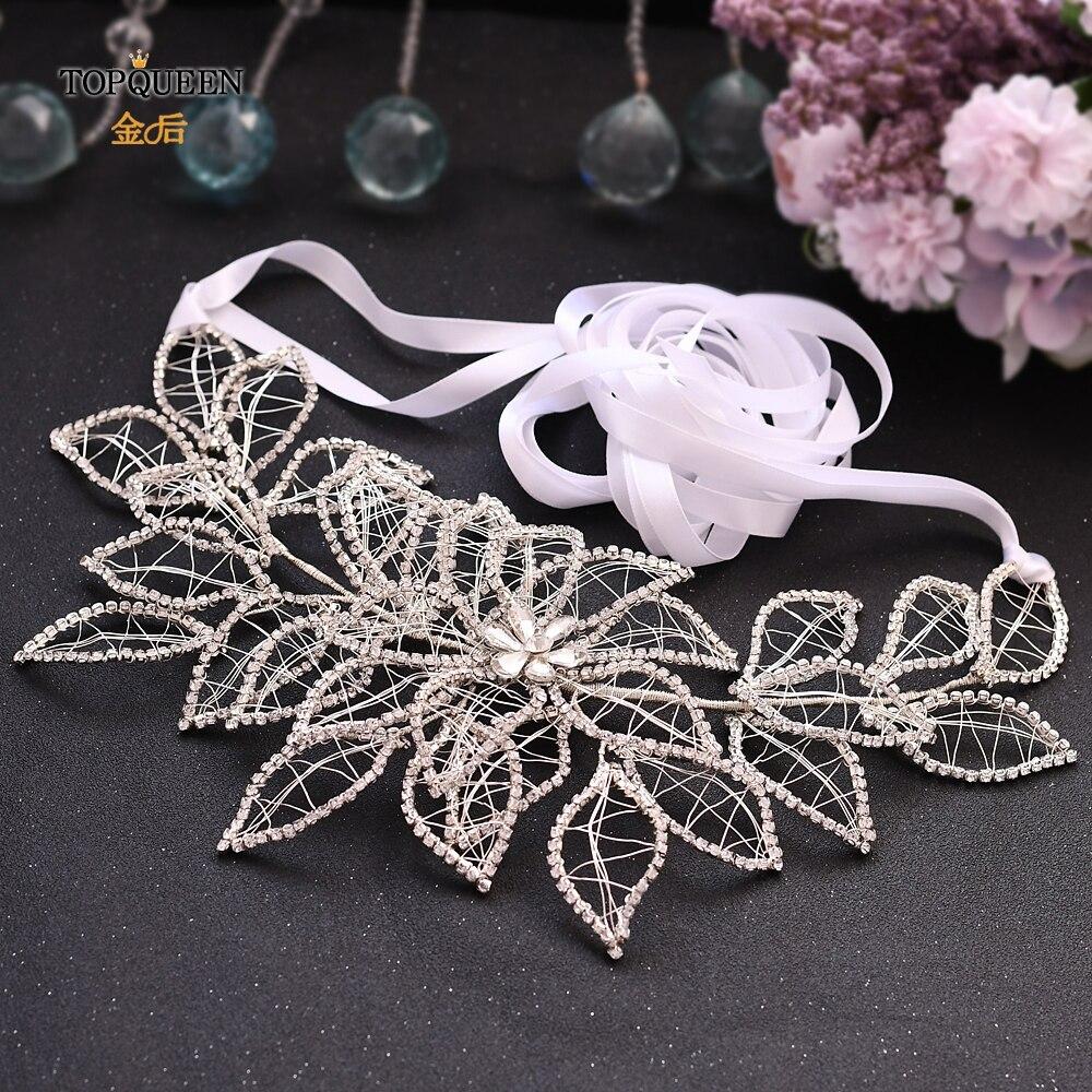 TOPQUEEN SH256-S bridal belt silver black rhinestone belt wedding belts for women dress ribbon belt rhinestone appliques