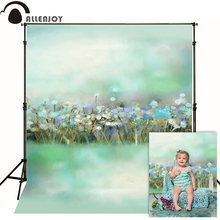 Allenjoy photography spring backdrops Fuzzy green oil painting flower bokeh backgrounds for photo studio baby shoot photocall