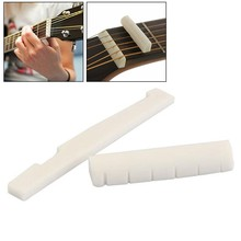 1pc Natural Bone Bridge Saddle 72mm With End Nut 43mm Part Slotted For Acoustic Guitar Replacement Musical Instruments Accessory
