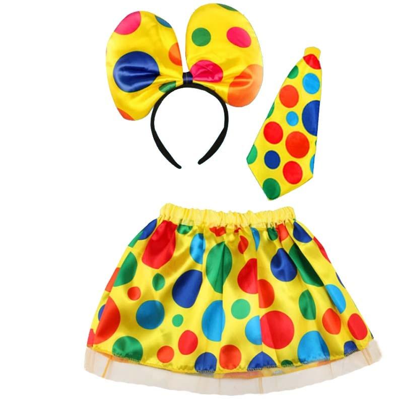 Girls Boy Women Fun Clown Cosplay Stage Performance Costume Polka Dot Headband Tie Skirt Carnival Birthday Party Clown Cosplay