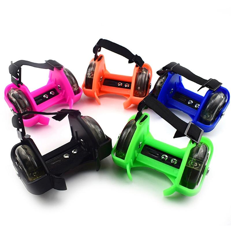 Two-Wheeled Heel Wheels Adjustable Roller Skates PVC Tricolor Luminous Wheel Shoes For Children YA88