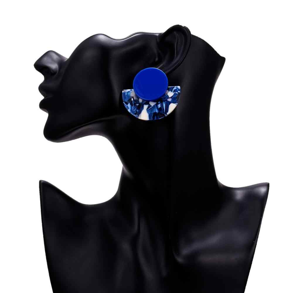 Rinhoo アクリルアセテートイヤリング扇形女性イヤリングボヘミアンビッグヒョウペンダントステートメント円形耳ジュエリーアクセサリー
