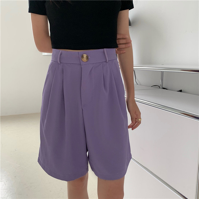 HziriP Solid Women's Large Size Casual Shorts Hot Sale High Waist OL Thin Loose Wide Leg Chic 2020 New Leisure All Match Shorts
