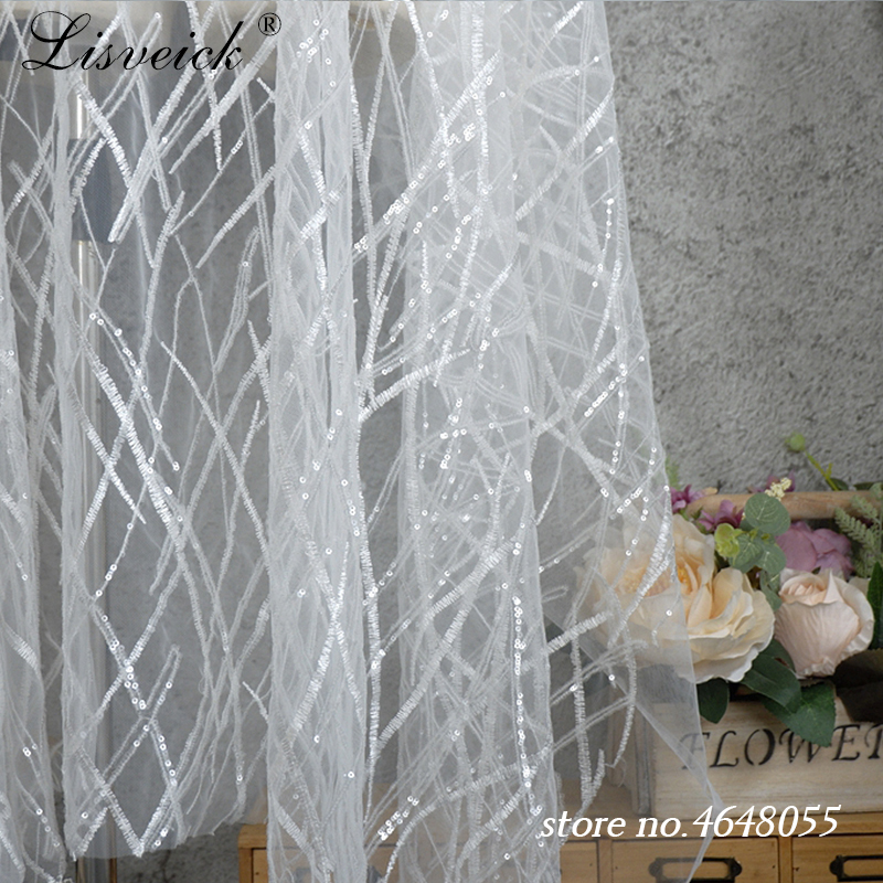 1yard NEW 3D geometry sequins yarn lace fabric beaded embroidered cloth for wedding evening dress curtains DIY in Fabric from Home Garden