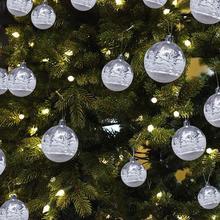 6pcs Transparent Painted Christmas Balls Glitter 3cm High-grade Decorations