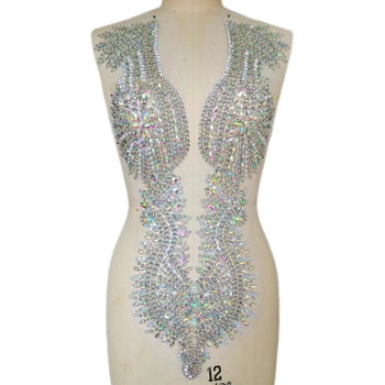 Exquisite Clear AB Women Wedding Clothes Sew on Diy Rhinestones Crystals Sequins Appliques Patches AB For Party Dance Costumes