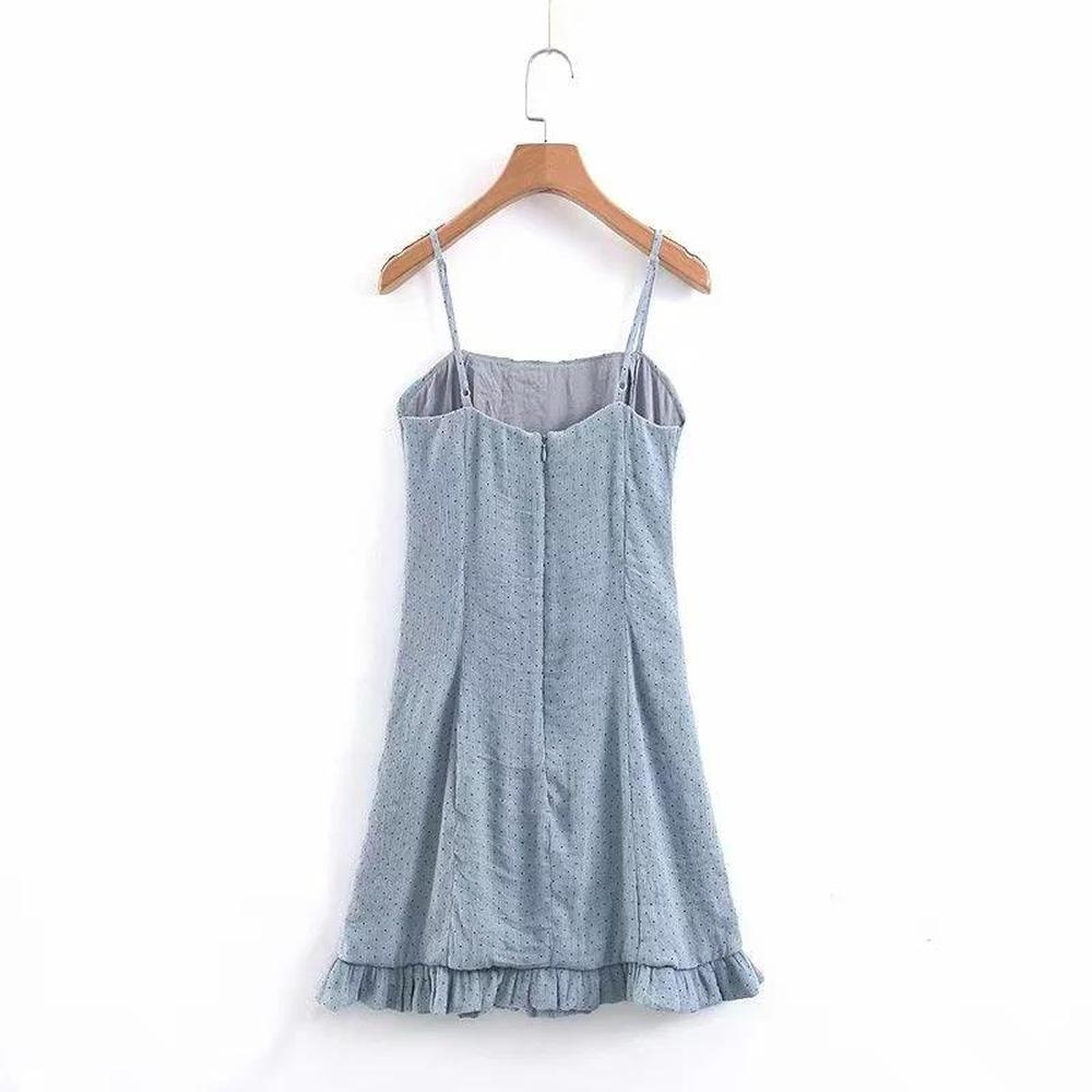 2019 Autumn Summer Women 39 s Dresses Casual Party Club Spaghetti Strap Sleeveless Ruffles Solid Dot Women Dresses for Woman in Dresses from Women 39 s Clothing