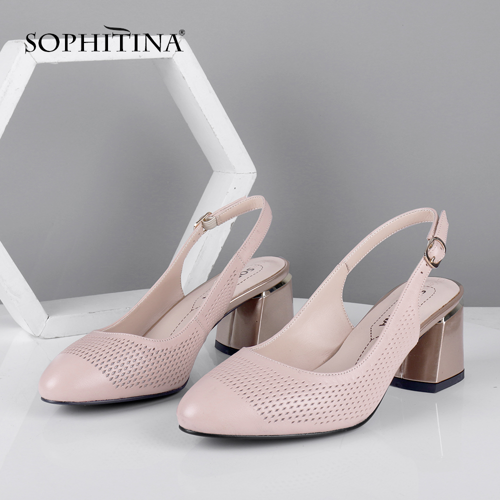 SOPHITINA Summer Women New Pumps Pointed Toe Square Heel High Slingbacks Shallow Casual Fashionable Shoes Sheepskin Pumps PC632