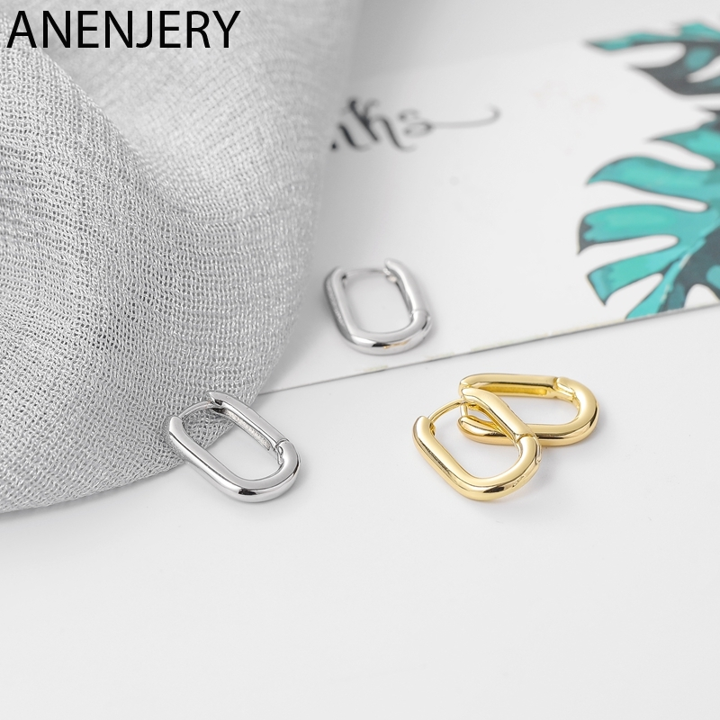 ANENJERY Silber Farbe Geometrische Oval Kleine Hoop Ohrringe Für Frauen Verhindern Allergie Ohrringe Mit S925 Stempel Geschenk S-E1082