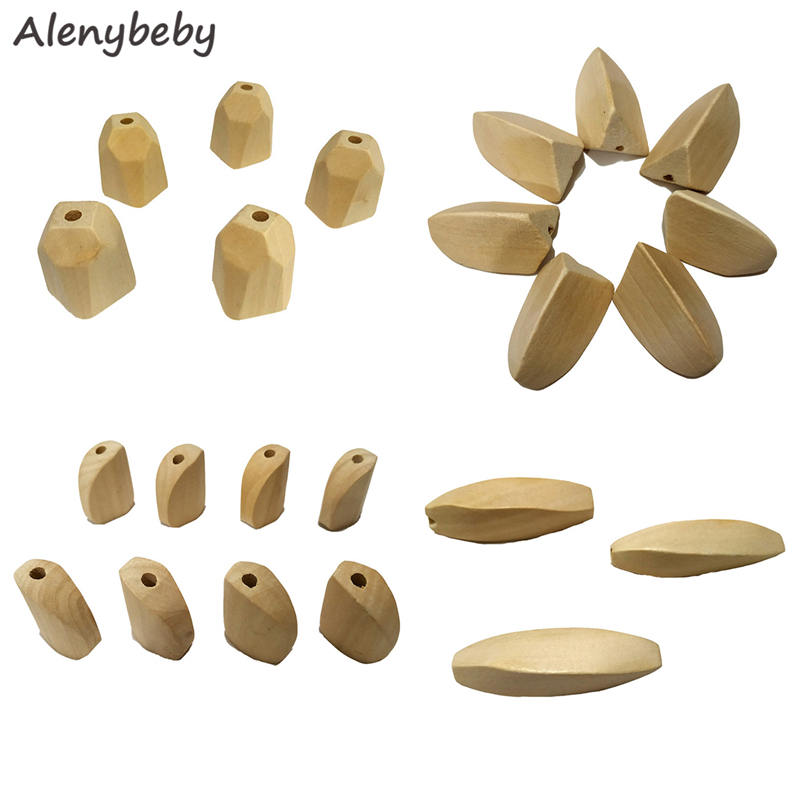 Wood Hexagon Beads Teether Unfinished Solid Wood Singular Beads Creations DIY Baby Teething Jewelry Necklace Product