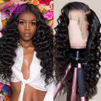 Celie-Peluca de cabello brasileño suelto con ondas profundas, cabello 100 humano, pelucas con minimechones, línea de cabello prearrancada para mujer negra