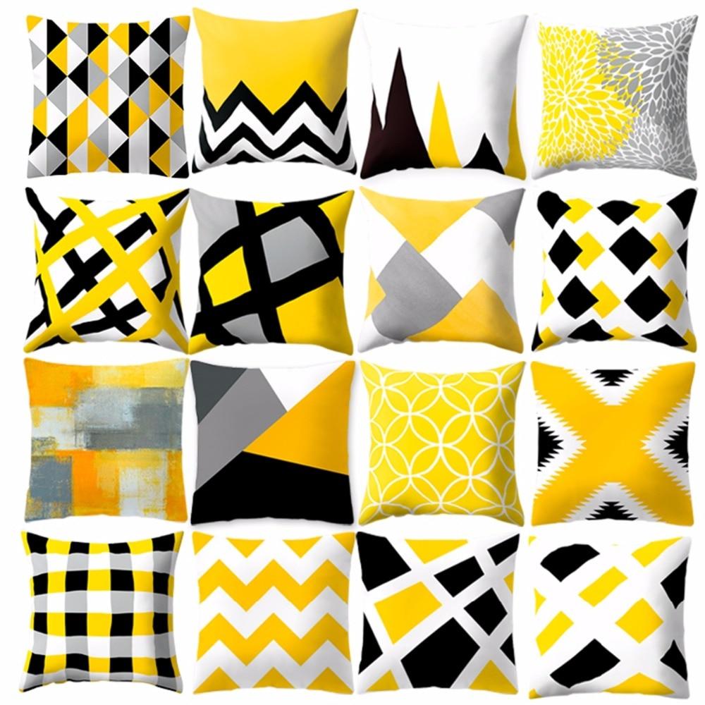 Новый стиль, Геометрическая желтая наволочка, декоративная подушка для дивана, DIY печатная подушка, кресло, Автомобильная подушка, Рождеств...