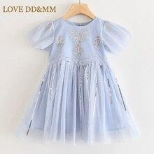 אהבה DD & MM בנות שמלות 2020 ילדים חדשים בגדים מתוק פרפר רקום פאייטים רשת נסיכת שמלת ילדה 3 8 שנים