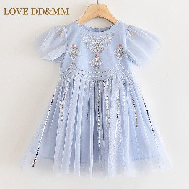 فستان للفتيات من LOVE DD & MM ملابس أطفال جديدة 2020 فستان الأميرة الشبكي المطرز على شكل فراشة حلوة للفتيات من 3 8 سنوات