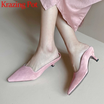 Krazing pot 2020 new arrival kid suede fashion slingback shoes pointed toe high heels Korean girls dating wear summer pumps L01