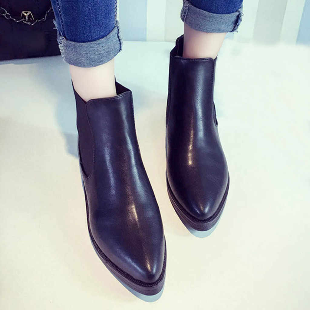 CHAMSGEND รองเท้าบูทแฟชั่นเรียบง่ายรองเท้าสบายรองเท้าแฟชั่นสบายๆรองเท้าผู้หญิง