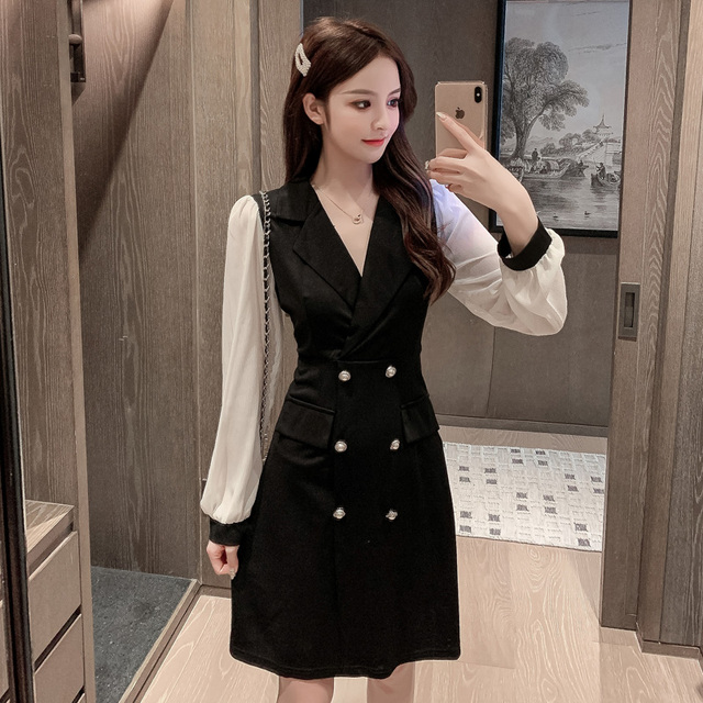 COIGARSAM Office Lady Full Sleeve Women one-piece dress korean New Spring Solid Notched Double Breasted Dresses Black 862 3