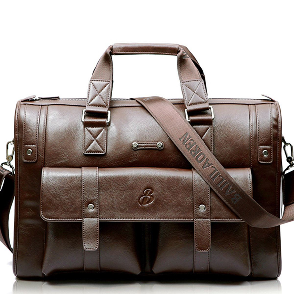 Men Leather Black Briefcase Business Handbag Messenger Bags Male Vintage Shoulder Bag Men's Large Laptop Travel Bags
